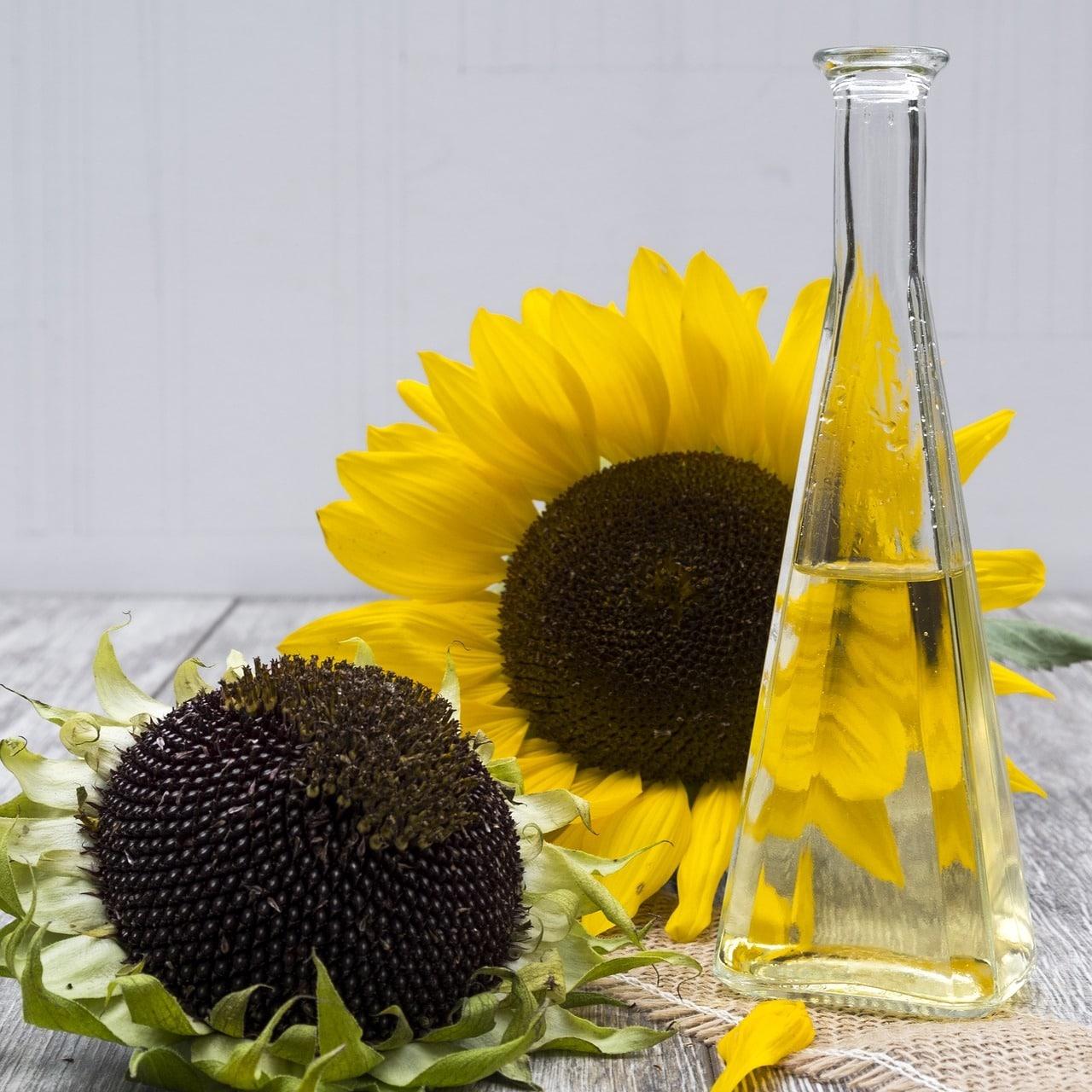 bouteille d'huile de tournesol et des fleurs de tournesol